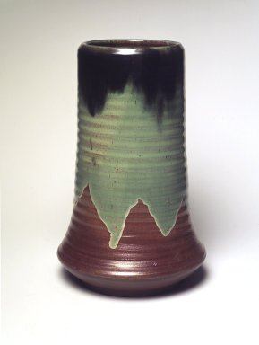 Jacob Meyers. <em>Vase</em>, ca. 1899. Earthenware, 11 x 7 x 7 in. (27.9 x 17.8 x 17.8 cm). Brooklyn Museum, Gift of David M. Kahn, 1995.148. Creative Commons-BY (Photo: Brooklyn Museum, 1995.148_transp6343.jpg)