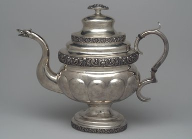 Unknown. <em>Teapot, Part of Three-Piece Set</em>, ca. 1826-1828. Silver, 10 1/2 x 12 1/2 x 5 1/2 in. (26.5 x 31.6 x 14.0 cm). Brooklyn Museum, Gift of Marcelle H. Littell, 1995.151.1. Creative Commons-BY (Photo: Brooklyn Museum, 1995.151.1.jpg)