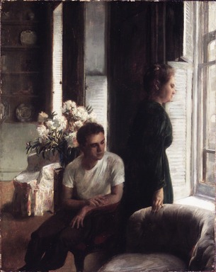 John Koch (American, 1909-1978). <em>The Window</em>, 1947. Oil on canvas, 20 x 16 in. (50.8 x 40.6 cm). Brooklyn Museum, Gift of John and Janet Tamagni, 1995.155. © artist or artist's estate (Photo: Brooklyn Museum, 1995.155_transp615.jpg)