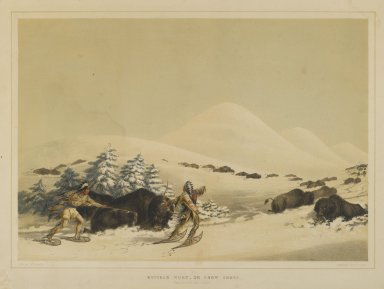 George Catlin (American, 1796-1872). <em>Buffalo Hunt, on Snow Shoes</em>. Lithograph on cream wove paper, 12 1/16 x 17 9/16 in. (30.6 x 44.6 cm). Brooklyn Museum, Gift of Allan D. Chapman, 1995.156.1 (Photo: Brooklyn Museum, 1995.156.1_PS1.jpg)