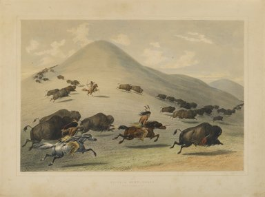 George Catlin (American, 1796-1872). <em>Buffalo Hunt Chase</em>. Lithograph on cream wove paper, Sheet: 16 1/16 x 21 3/8 in. (40.8 x 54.3 cm). Brooklyn Museum, Gift of Allan D. Chapman, 1995.156.2 (Photo: Brooklyn Museum, 1995.156.2_PS1.jpg)