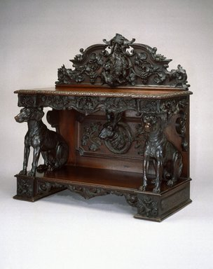 Alexander Roux (American, born France, 1813-1886 (active New York, 1836-1880)). <em>Sideboard</em>, ca. 1855. Black walnut, 49 x 49 x 24 in. (124.5 x 124.5 x 61.0 cm). Brooklyn Museum, Gift of Benno Bordiga, by exchange, 1995.15. Creative Commons-BY (Photo: Brooklyn Museum, 1995.15_SL1.jpg)