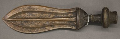 "Kuba (Shoowa subgroup). <em>Ikula Knife (""Peace"" Knife)</em>, 19th century. Copper, wood, 12 1/4 x 3 1/8 x 2 1/4 in. (31.1 x 7.9 x 5.7 cm). Brooklyn Museum, Gift of Allen C. Davis, 1995.171.5. Creative Commons-BY (Photo: Brooklyn Museum, 1995.171.5_PS10.jpg)"