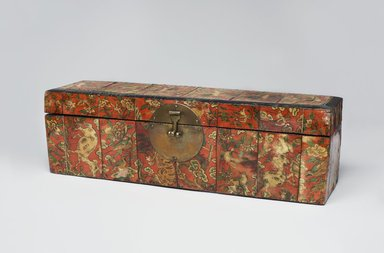 <em>Box</em>, late 19th-early 20th century. Wood, brass fittings, back-painted ox horn panels, 4 15/16 x 16 9/16 x 4 7/16 in. (12.5 x 42 x 11.2 cm). Brooklyn Museum, Gift of Dr. and Mrs. John P. Lyden, 1995.184.1. Creative Commons-BY (Photo: Brooklyn Museum, 1995.184.1_front_PS11.jpg)