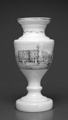 Unknown. <em>Vase (City Hall, New York)</em>, ca. 1840. Glass, 9 3/16 x 3 3/4 x 3 3/4 in. (23.3 x 9.5 x 9.5 cm). Brooklyn Museum, Gift of Wunsch Americana Foundation, Inc., 1995.195.1. Creative Commons-BY (Photo: Brooklyn Museum, 1995.195.1_bw.jpg)