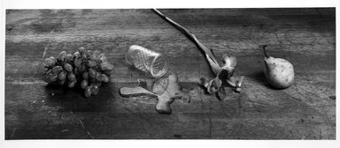 Zeke Berman (American, born 1951). <em>Early Still Life with Spill</em>, 1979. Gelatin silver photograph, image: 7 5/8 x 19 1/16 in. (19.4 x 48.4 cm). Brooklyn Museum, Gift of Eileen and Michael Cohen, 1995.204.2. © artist or artist's estate (Photo: Brooklyn Museum, 1995.204.2_bw.jpg)
