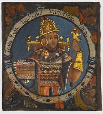 Unknown. <em>Tupac Yupanqui, Eleventh Inca, 1 of 14 Portraits of Inca Kings</em>, mid-18th century (probably). Oil on canvas, 23 1/8 x 21 1/4in. (58.7 x 54cm). Brooklyn Museum, Dick S. Ramsay Fund, Mary Smith Dorward Fund, Marie Bernice Bitzer Fund, Frank L. Babbott Fund, gift of The Roebling Society and the American Art Council, purchased with funds given by an anonymous donor, Maureen and Marshall Cogan, Karen B. Cohen, Georgia and Michael deHavenon, Harry Kahn, Alastair B. Martin, Ted and Connie Roosevelt, Frieda and Milton F. Rosenthal, Sol Schreiber in memory of Ann Schreiber, Joanne Witty and Eugene Keilin, Thomas L. Pulling, Roy J. Zuckerberg, Kitty and Herbert Glantz, Ellen and Leonard L. Milberg, Paul and Thérèse Bernbach, Emma and J. A. Lewis, Florence R. Kingdon, 1995.29.11 (Photo: Brooklyn Museum, 1995.29.11_PS6.jpg)