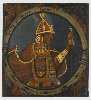 Unknown. <em>Huascar, Thirteenth Inca, 1 of 14 Portraits of Inca Kings</em>, Probably mid-18th century. Oil on canvas, 23 1/2 x 21 1/2in. (59.7 x 54.6cm). Brooklyn Museum, Dick S. Ramsay Fund, Mary Smith Dorward Fund, Marie Bernice Bitzer Fund, Frank L. Babbott Fund, gift of The Roebling Society and the American Art Council, purchased with funds given by an anonymous donor, Maureen and Marshall Cogan, Karen B. Cohen, Georgia and Michael deHavenon, Harry Kahn, Alastair B. Martin, Ted and Connie Roosevelt, Frieda and Milton F. Rosenthal, Sol Schreiber in memory of Ann Schreiber, Joanne Witty and Eugene Keilin, Thomas L. Pulling, Roy J. Zuckerberg, Kitty and Herbert Glantz, Ellen and Leonard L. Milberg, Paul and Thérèse Bernbach, Emma and J. A. Lewis, Florence R. Kingdon, 1995.29.13 (Photo: Brooklyn Museum, 1995.29.13_PS6.jpg)