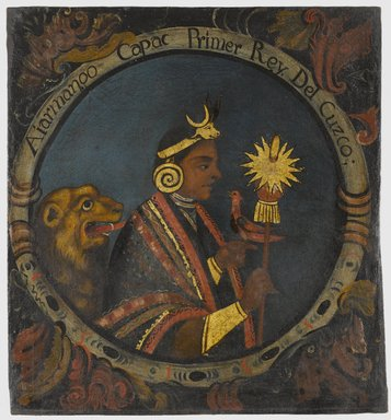 Peruvian. <em>Manco Capac, First Inca, 1 of 14 Portraits of Inca Kings</em>, mid-18th century (probably). Oil on canvas, 23 1/2 x 21 11/16 in. (59.7 x 55.1 cm). Brooklyn Museum, Dick S. Ramsay Fund, Mary Smith Dorward Fund, Marie Bernice Bitzer Fund, Frank L. Babbott Fund, gift of The Roebling Society and the American Art Council, purchased with funds given by an anonymous donor, Maureen and Marshall Cogan, Karen B. Cohen, Georgia and Michael deHavenon, Harry Kahn, Alastair B. Martin, Ted and Connie Roosevelt, Frieda and Milton F. Rosenthal, Sol Schreiber in memory of Ann Schreiber, Joanne Witty and Eugene Keilin, Thomas L. Pulling, Roy J. Zuckerberg, Kitty and Herbert Glantz, Ellen and Leonard L. Milberg, Paul and Thérèse Bernbach, Emma and J. A. Lewis, Florence R. Kingdon, 1995.29.1 (Photo: Brooklyn Museum, 1995.29.1_PS6.jpg)