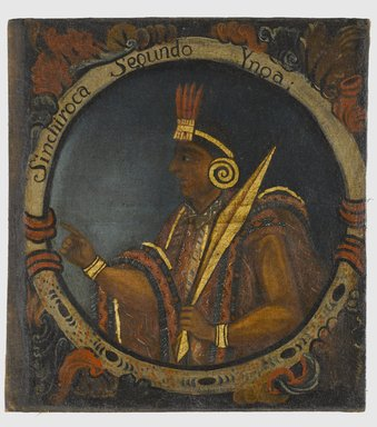 Unknown. <em>Sinchi Roca, Second Inca, 1 of 14 Portraits of Inca Kings</em>, mid-18th century (probably). Oil on canvas, 23 5/8 x 21 11/16in. (60 x 55.1cm). Brooklyn Museum, Dick S. Ramsay Fund, Mary Smith Dorward Fund, Marie Bernice Bitzer Fund, Frank L. Babbott Fund, gift of The Roebling Society and the American Art Council, purchased with funds given by an anonymous donor, Maureen and Marshall Cogan, Karen B. Cohen, Georgia and Michael deHavenon, Harry Kahn, Alastair B. Martin, Ted and Connie Roosevelt, Frieda and Milton F. Rosenthal, Sol Schreiber in memory of Ann Schreiber, Joanne Witty and Eugene Keilin, Thomas L. Pulling, Roy J. Zuckerberg, Kitty and Herbert Glantz, Ellen and Leonard L. Milberg, Paul and Thérèse Bernbach, Emma and J. A. Lewis, Florence R. Kingdon, 1995.29.2 (Photo: Brooklyn Museum, 1995.29.2_PS6.jpg)