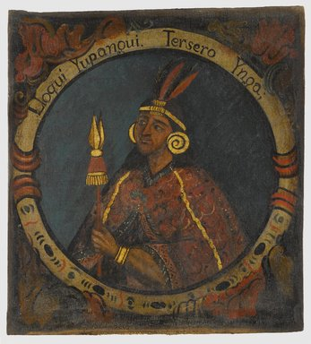 Unknown. <em>Lloqui Yupanqui, Third Inca, 1 of 14 Portraits of Inca Kings</em>, mid-18th century (probably). Oil on canvas, 23 11/16 x 21 9/16in. (60.2 x 54.8cm). Brooklyn Museum, Dick S. Ramsay Fund, Mary Smith Dorward Fund, Marie Bernice Bitzer Fund, Frank L. Babbott Fund, gift of The Roebling Society and the American Art Council, purchased with funds given by an anonymous donor, Maureen and Marshall Cogan, Karen B. Cohen, Georgia and Michael deHavenon, Harry Kahn, Alastair B. Martin, Ted and Connie Roosevelt, Frieda and Milton F. Rosenthal, Sol Schreiber in memory of Ann Schreiber, Joanne Witty and Eugene Keilin, Thomas L. Pulling, Roy J. Zuckerberg, Kitty and Herbert Glantz, Ellen and Leonard L. Milberg, Paul and Thérèse Bernbach, Emma and J. A. Lewis, Florence R. Kingdon, 1995.29.3 (Photo: Brooklyn Museum, 1995.29.3_PS6.jpg)