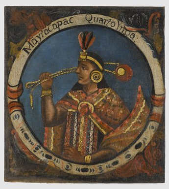 Unknown. <em>Mayta Capac, Fourth Inca, 1 of 14 Portraits of Inca Kings</em>, mid-18th century (probably). Oil on canvas, 23 1/2 x 21 1/2in. (59.7 x 54.6cm). Brooklyn Museum, Dick S. Ramsay Fund, Mary Smith Dorward Fund, Marie Bernice Bitzer Fund, Frank L. Babbott Fund, gift of The Roebling Society and the American Art Council, purchased with funds given by an anonymous donor, Maureen and Marshall Cogan, Karen B. Cohen, Georgia and Michael deHavenon, Harry Kahn, Alastair B. Martin, Ted and Connie Roosevelt, Frieda and Milton F. Rosenthal, Sol Schreiber in memory of Ann Schreiber, Joanne Witty and Eugene Keilin, Thomas L. Pulling, Roy J. Zuckerberg, Kitty and Herbert Glantz, Ellen and Leonard L. Milberg, Paul and Thérèse Bernbach, Emma and J. A. Lewis, Florence R. Kingdon, 1995.29.4 (Photo: Brooklyn Museum, 1995.29.4_PS6.jpg)