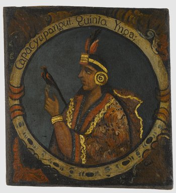 Unknown. <em>Capac Yupanqui, Fifth Inca, 1 of 14 Portraits of Inca Kings</em>, mid-18th century (probably). Oil on canvas, 23 1/2 x 21 3/4in. (59.7 x 55.2cm). Brooklyn Museum, Dick S. Ramsay Fund, Mary Smith Dorward Fund, Marie Bernice Bitzer Fund, Frank L. Babbott Fund, gift of The Roebling Society and the American Art Council, purchased with funds given by an anonymous donor, Maureen and Marshall Cogan, Karen B. Cohen, Georgia and Michael deHavenon, Harry Kahn, Alastair B. Martin, Ted and Connie Roosevelt, Frieda and Milton F. Rosenthal, Sol Schreiber in memory of Ann Schreiber, Joanne Witty and Eugene Keilin, Thomas L. Pulling, Roy J. Zuckerberg, Kitty and Herbert Glantz, Ellen and Leonard L. Milberg, Paul and Thérèse Bernbach, Emma and J. A. Lewis, Florence R. Kingdon, 1995.29.5 (Photo: Brooklyn Museum, 1995.29.5_PS6.jpg)
