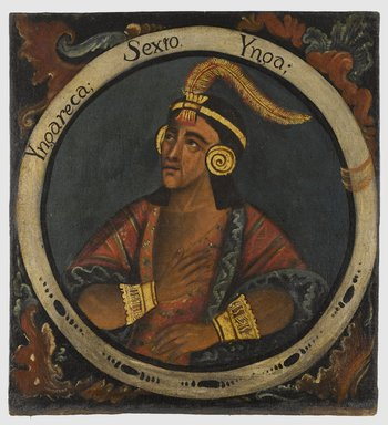 Unknown. <em>Inca Roca, Sixth Inca, 1 of 14 Portraits of Inca Kings</em>, mid-18th century (probably). Oil on canvas, 23 3/8 x 21 1/2in. (59.4 x 54.6cm). Brooklyn Museum, Dick S. Ramsay Fund, Mary Smith Dorward Fund, Marie Bernice Bitzer Fund, Frank L. Babbott Fund, gift of The Roebling Society and the American Art Council, purchased with funds given by an anonymous donor, Maureen and Marshall Cogan, Karen B. Cohen, Georgia and Michael deHavenon, Harry Kahn, Alastair B. Martin, Ted and Connie Roosevelt, Frieda and Milton F. Rosenthal, Sol Schreiber in memory of Ann Schreiber, Joanne Witty and Eugene Keilin, Thomas L. Pulling, Roy J. Zuckerberg, Kitty and Herbert Glantz, Ellen and Leonard L. Milberg, Paul and Thérèse Bernbach, Emma and J. A. Lewis, Florence R. Kingdon, 1995.29.6 (Photo: Brooklyn Museum, 1995.29.6_PS6.jpg)
