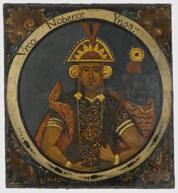 Unknown. <em>Urco, Ninth Inca, 1 of 14 Portraits of Inca Kings</em>, mid-18th century (probably). Oil on canvas, 23 7/16 x 21 9/16in. (59.5 x 54.8cm). Brooklyn Museum, Dick S. Ramsay Fund, Mary Smith Dorward Fund, Marie Bernice Bitzer Fund, Frank L. Babbott Fund, gift of The Roebling Society and the American Art Council, purchased with funds given by an anonymous donor, Maureen and Marshall Cogan, Karen B. Cohen, Georgia and Michael deHavenon, Harry Kahn, Alastair B. Martin, Ted and Connie Roosevelt, Frieda and Milton F. Rosenthal, Sol Schreiber in memory of Ann Schreiber, Joanne Witty and Eugene Keilin, Thomas L. Pulling, Roy J. Zuckerberg, Kitty and Herbert Glantz, Ellen and Leonard L. Milberg, Paul and Thérèse Bernbach, Emma and J. A. Lewis, Florence R. Kingdon, 1995.29.9 (Photo: Brooklyn Museum, 1995.29.9_PS6.jpg)
