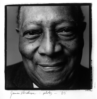 Anthony Barboza (American, born 1944). <em>James Van Der Zee</em>, 1980. Gelatin silver photograph, 19 3/4 x 15 7/8 in. (50.2 x 40.3 cm). Brooklyn Museum, Purchased with funds given by the Horace W. Goldsmith Foundation, Harry Kahn, Mrs. Carl L. Selden, and an anonymous donor, 1995.39.1. © artist or artist's estate (Photo: Brooklyn Museum, 1995.39.1_bw.jpg)