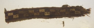Coastal Wari. <em>Tunic, Fragment</em>, 600-1000. Cotton, camelid fiber, (7.3 x 39.0 cm). Brooklyn Museum, Gift of Kay Hodnett Nunez, 1995.47.70. Creative Commons-BY (Photo: Brooklyn Museum, 1995.47.70_front_PS5.jpg)