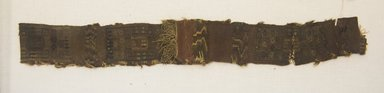 Coastal Wari. <em>Headband, Fragment</em>, 600-1000. Cotton, camelid fiber, (44.0 x 5.5 cm). Brooklyn Museum, Gift of Kay Hodnett Nunez, 1995.47.75. Creative Commons-BY (Photo: Brooklyn Museum, 1995.47.75_front_PS5.jpg)