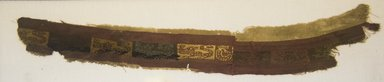 Coastal Wari. <em>Mantle, Fragment or Tunic, Fragment</em>, 600-1000. Cotton, camelid fiber, (58.0 x 12.0 cm). Brooklyn Museum, Gift of Kay Hodnett Nunez, 1995.47.77. Creative Commons-BY (Photo: Brooklyn Museum, 1995.47.77_front_PS5.jpg)