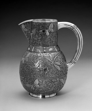 Meriden Silver Company, a division of International Silver Co. (American, founded 1898). <em>Pitcher</em>, ca. 1885. Silver-plate, 9 x 8 x 5 1/2 in. (22.9 x 20.3 x 14 cm). Brooklyn Museum, Bequest of Marie Bernice Bitzer, by exchange, 1995.54. Creative Commons-BY (Photo: Brooklyn Museum, 1995.54_bw.jpg)