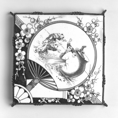 International Tile Company. <em>Tile in Metal Trivet Mount</em>, ca. 1882-1888. Glazed earthenware, metal, 1 1/4 x 6 5/8 x 6 3/4 in.  (3.2 x 16.8 x 17.1 cm). Brooklyn Museum, Bequest of Marie Bernice Bitzer, by exchange, 1995.56 (Photo: Brooklyn Museum, 1995.56_bw.jpg)