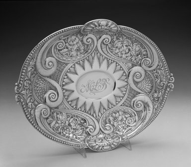Gorham Manufacturing Company (1865-1961). <em>Bread Dish</em>, ca. 1889. Silver, 3 x 11 3/4 x 9 3/4 in.  (7.6 x 29.8 x 24.8 cm). Brooklyn Museum, Bequest of Marie Bernice Bitzer, by exchange, 1995.57. Creative Commons-BY (Photo: Brooklyn Museum, 1995.57_view1_bw.jpg)