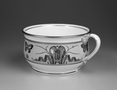Minton and Company (1849-1878). <em>Chamber Pot</em>, ca. 1870. Glazed porcelain, 5 x 10 5/8 x 8 15/16 in.  (12.7 x 27.0 x 22.7 cm). Brooklyn Museum, Bequest of Marie Bernice Bitzer, by exchange, 1995.58.2. Creative Commons-BY (Photo: Brooklyn Museum, 1995.58.2_bw.jpg)