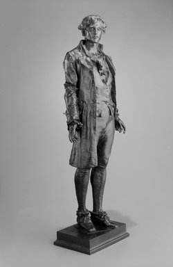 Frederick William MacMonnies (American, 1863-1937). <em>Nathan Hale</em>, 1890. Bronze, 28 3/4 x 10 x 7 in. (73 x 25.4 x 17.8 cm). Brooklyn Museum, Purchased with funds given by Sol Schreiber in memory of Ann Schreiber and the Hannah and Leonard Stone Fund, 1995.63. Creative Commons-BY (Photo: Brooklyn Museum, 1995.63_bw.jpg)