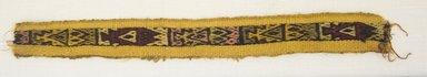 <em>Poncho, Fragment</em>, 1400-1532. Cotton, camelid fiber, (4.0 x 33.5 cm). Brooklyn Museum, Gift of Kay Hodnett Nunez, 1995.84.11. Creative Commons-BY (Photo: Brooklyn Museum, 1995.84.11_front_PS5.jpg)