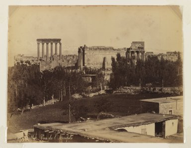 Felix Bonfils (French, 1831-1885). <em>Balbek: view of the Acropolis</em>, after 1867. Albumen silver photograph, sheet: height: 10 in. Brooklyn Museum, Purchased with funds given by Dr. and Mrs. Shahrokh Ahkami and an anonymous donor, 1995.86.12 (Photo: Brooklyn Museum, 1995.86.12_IMLS_PS3.jpg)