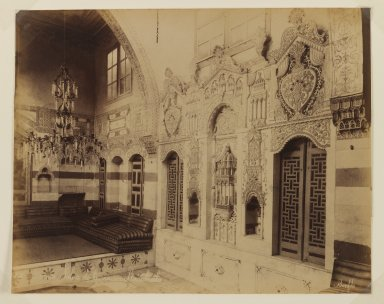 Felix Bonfils (French, 1831-1885). <em>Damascus- Reception room of the Istambouli House</em>, after 1867. Albumen silver photograph, sheet: height: 11 in. Brooklyn Museum, Purchased with funds given by Dr. and Mrs. Shahrokh Ahkami and an anonymous donor, 1995.86.14 (Photo: Brooklyn Museum, 1995.86.14_IMLS_PS3.jpg)