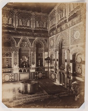 Felix Bonfils (French, 1831-1885). <em>Damascus- Interior of the British Consulate</em>, after 1867. Albumen silver photograph, 14 x 10in. (35.6 x 25.4cm). Brooklyn Museum, Purchased with funds given by Dr. and Mrs. Shahrokh Ahkami and an anonymous donor, 1995.86.15 (Photo: Brooklyn Museum, 1995.86.15_IMLS_PS3.jpg)