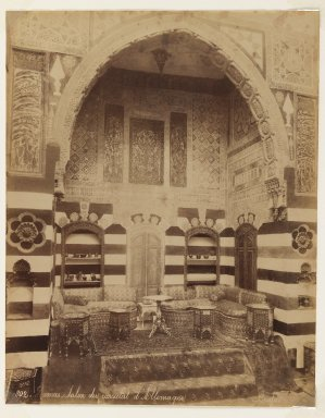 Felix Bonfils (French, 1831-1885). <em>Damascus- Reception room of the German Consulate</em>, after 1867. Albumen silver photograph, sheet: height: 14 in. Brooklyn Museum, Purchased with funds given by Dr. and Mrs. Shahrokh Ahkami and an anonymous donor, 1995.86.16 (Photo: Brooklyn Museum, 1995.86.16_IMLS_PS3.jpg)
