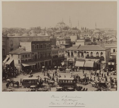 Pascal Sébah (Turkish, 1823-1886). <em>Suleymaniye Mosque and Eminonu Square</em>, ca. 1860-1880. Gelatin silver photograph, sheet: height: 12 in. Brooklyn Museum, Purchased with funds given by Dr. and Mrs. Shahrokh Ahkami and an anonymous donor, 1995.86.3 (Photo: Brooklyn Museum, 1995.86.3_IMLS_PS3.jpg)