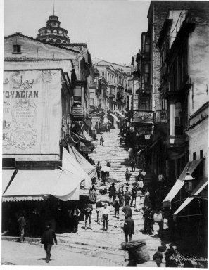 Pascal Sébah (Turkish, 1823-1886). <em>Street of Galata Quarter</em>, ca. 1860-1880. Gelatin silver photograph, sheet: height: 12 in. Brooklyn Museum, Purchased with funds given by Dr. and Mrs. Shahrokh Ahkami and an anonymous donor, 1995.86.4 (Photo: Brooklyn Museum, 1995.86.4_bw_IMLS.jpg)