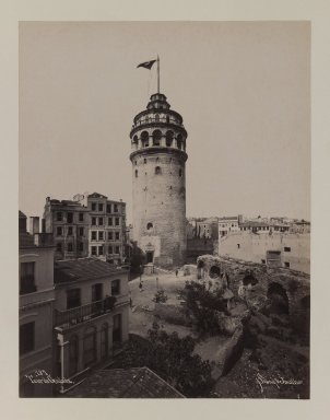 Pascal Sébah (Turkish, 1823-1886). <em>Tower of Galata</em>, ca. 1860-1880. Gelatin silver photograph, sheet: height: 12 in. Brooklyn Museum, Purchased with funds given by Dr. and Mrs. Shahrokh Ahkami and an anonymous donor, 1995.86.5 (Photo: Brooklyn Museum, 1995.86.5_IMLS_PS3.jpg)
