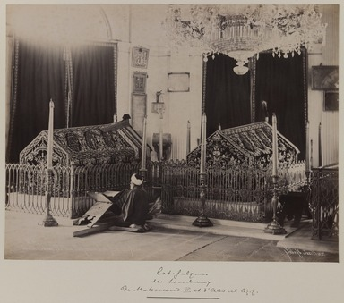 Jean Sébah (Turkish, 1872-1947). <em>Tombs of Sultan Mahmud II (r. 1808-1839) and Abd'ul Aziz (r. 1861-1876)</em>, 1890-1900. Gelatin silver photograph, 12 x 16in. (30.5 x 40.6cm). Brooklyn Museum, Purchased with funds given by Dr. and Mrs. Shahrokh Ahkami and an anonymous donor, 1995.86.7 (Photo: Brooklyn Museum, 1995.86.7_IMLS_PS3.jpg)
