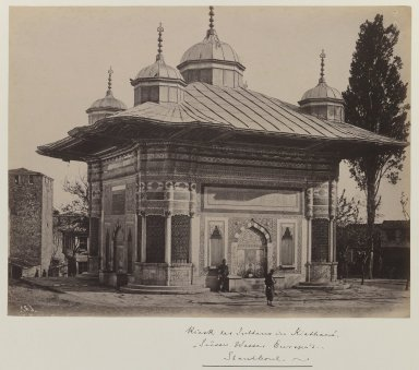 <em>Fountain of Sultan Ahmet III (r. 1703-1730)</em>, ca. 1860-1880. Gelatin silver photograph, sheet: height: 12 in. Brooklyn Museum, Purchased with funds given by Dr. and Mrs. Shahrokh Ahkami and an anonymous donor, 1995.86.8 (Photo: Brooklyn Museum, 1995.86.8_IMLS_PS3.jpg)