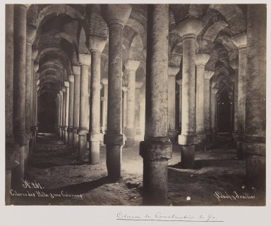 Pascal Sébah (Turkish, 1823-1886). <em>Byzantine Cistern</em>, ca. 1860-1880. Gelatin silver photograph, sheet: height: 12 in. Brooklyn Museum, Purchased with funds given by Dr. and Mrs. Shahrokh Ahkami and an anonymous donor, 1995.86.9 (Photo: Brooklyn Museum, 1995.86.9_IMLS_PS3.jpg)