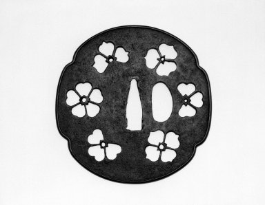 <em>Katchushi School Tsuba (Sword Guard)</em>, 16th-17th century. Iron, copper alloy, length: 3 3/8 in. Brooklyn Museum, Gift of the J. Aron Charitable Foundation, Inc. in memory of Jack R. Aron, 1995.9.12. Creative Commons-BY (Photo: Brooklyn Museum, 1995.9.12_view1_bw.jpg)