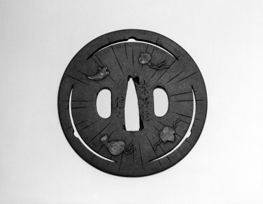 Kuruna Ju Nobuie. <em>Tsuba (Sword Guard) with Shippo (Seven Treasures) Design</em>, 18th century (possibly). Iron, enamels, copper, gold, diameter: 3 1/8 in. Brooklyn Museum, Gift of the J. Aron Charitable Foundation, Inc. in memory of Jack R. Aron, 1995.9.25. Creative Commons-BY (Photo: Brooklyn Museum, 1995.9.25_view1_bw.jpg)