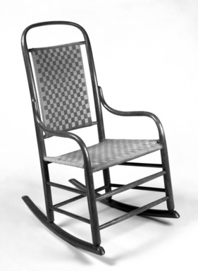 Grove M. Harwood. <em>Rocking Chair</em>, Design Patent February 23, 1875. Wood and original wool blend tape seat and back, 36 7/8 x 20 1/8 x 27 1/2 in.  (93.7 x 51.1 x 69.9 cm). Brooklyn Museum, Maria L. Emmons Fund, 1995.97. Creative Commons-BY (Photo: Brooklyn Museum, 1995.97_bw.jpg)