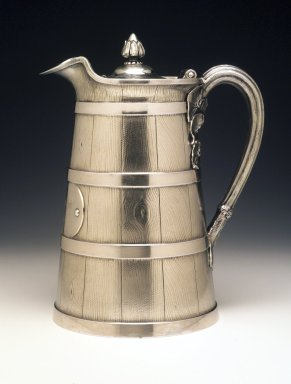 Tiffany & Company (American, founded 1853). <em>Covered Pitcher</em>, ca. 1863. Silver, 8 1/2 x 8 x 5 5/8 in. Brooklyn Museum, H. Randolph Lever Fund, 1995.98.2. Creative Commons-BY (Photo: Brooklyn Museum, 1995.98.2_transp3161.jpg)