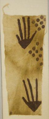 Paracas. <em>Mantle, Fragment</em>, 200-600. Cotton, pigment, 5 5/16 x 11 13/16 in. (13.5 x 30 cm). Brooklyn Museum, Gift of Nobuko Kajitani, 1996.115.3. Creative Commons-BY (Photo: Brooklyn Museum, 1996.115.3_front_PS5.jpg)