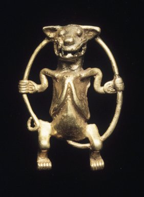 <em>Effigy Animal Figurine Swinging on Its Tail</em>, ca. 500-1500. Gold, 2 1/2 x 2 in. Brooklyn Museum, Bequest of Mrs. Carl L. Selden, 1996.116.14. Creative Commons-BY (Photo: Brooklyn Museum, 1996.116.14_transpc002.jpg)