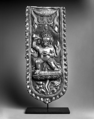 <em>Garuda</em>, 17th century. Bronze, polychrome, 14 in. (35.6 x 15 cm). Brooklyn Museum, Purchased with funds given by Dr. Bertram H. Schaffner, 1996.118. Creative Commons-BY (Photo: Brooklyn Museum, 1996.118_bw.jpg)