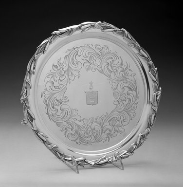 John C. Moore. <em>Waiter or Tray</em>, ca. 1848-1852. Silver, 1 1/8 x 12 x 12in. (2.9 x 30.5 x 30.5cm). Brooklyn Museum, H. Randolph Lever Fund, 1996.132. Creative Commons-BY (Photo: Brooklyn Museum, 1996.132_bw.jpg)