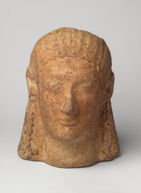 Etruscan. <em>Head of a Woman</em>, ca. 500 B.C.E. Terracotta, 8 5/16 x 6 1/4 x 6in. (21.1 x 15.8 x 15.2cm). Brooklyn Museum, Bequest of Mrs. Carl L. Selden, 1996.146.10. Creative Commons-BY (Photo: Brooklyn Museum, 1996.146.10.jpg)
