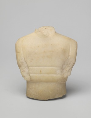 Cycladic. <em>Fragment of a Female Figurine</em>, ca. 2500 B.C.E. Marble, 4 11/16 x 3 13/16 x 1 1/4in. (11.9 x 9.7 x 3.1cm). Brooklyn Museum, Bequest of Mrs. Carl L. Selden, 1996.146.4. Creative Commons-BY (Photo: Brooklyn Museum, 1996.146.4_front.jpg)