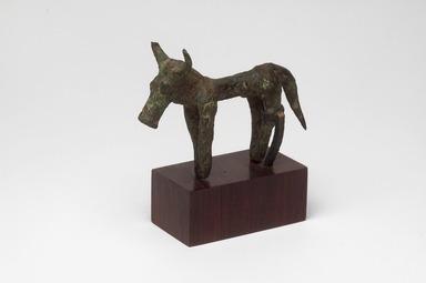 Greek. <em>Figure of a Bull</em>, ca. 7th century B.C.E. Bronze, (6.0 x 2.8 x 8.5 cm). Brooklyn Museum, Bequest of Mrs. Carl L. Selden, 1996.146.6. Creative Commons-BY (Photo: Brooklyn Museum, 1996.146.6_threequarter.jpg)